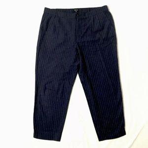 Madewell Blue Pants Crop Linen Wool